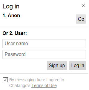 Chatango Set Name or Login
