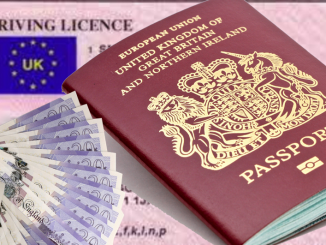 UK Passport with Licence and Money