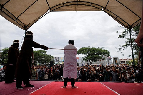 Man flogged in Indonesia