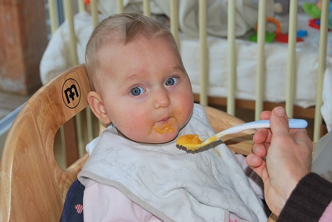 baby eating food