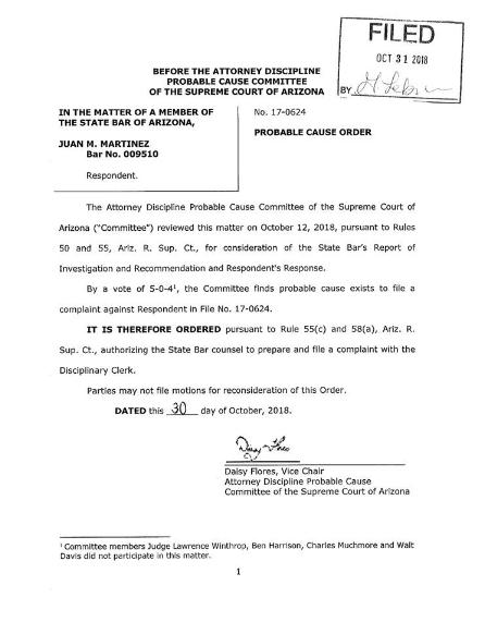 Juan Martinez probable cause order