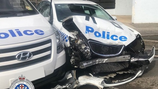 Australian damaged police car