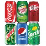 Cans carbonated drinks