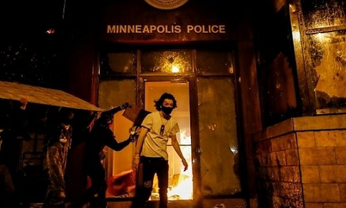 Minneapolis police station fire