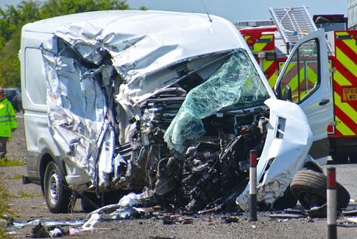 crashed van