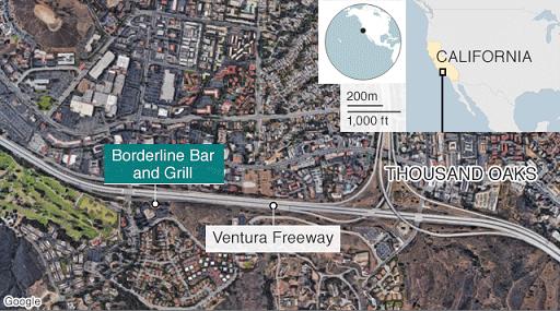 Thousand Oaks bar shooting map