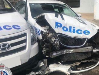 Australian damaged police car
