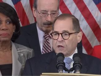 Democrat Jerry Nadler announcing articles of impeachment