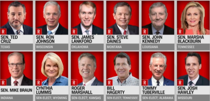 GOP Senators and-Senators elect opposing certification
