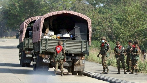 Myanmar road block
